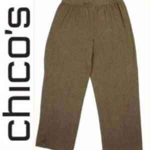Chicos Design Knit Pants Heather Brown Size 3/XL
